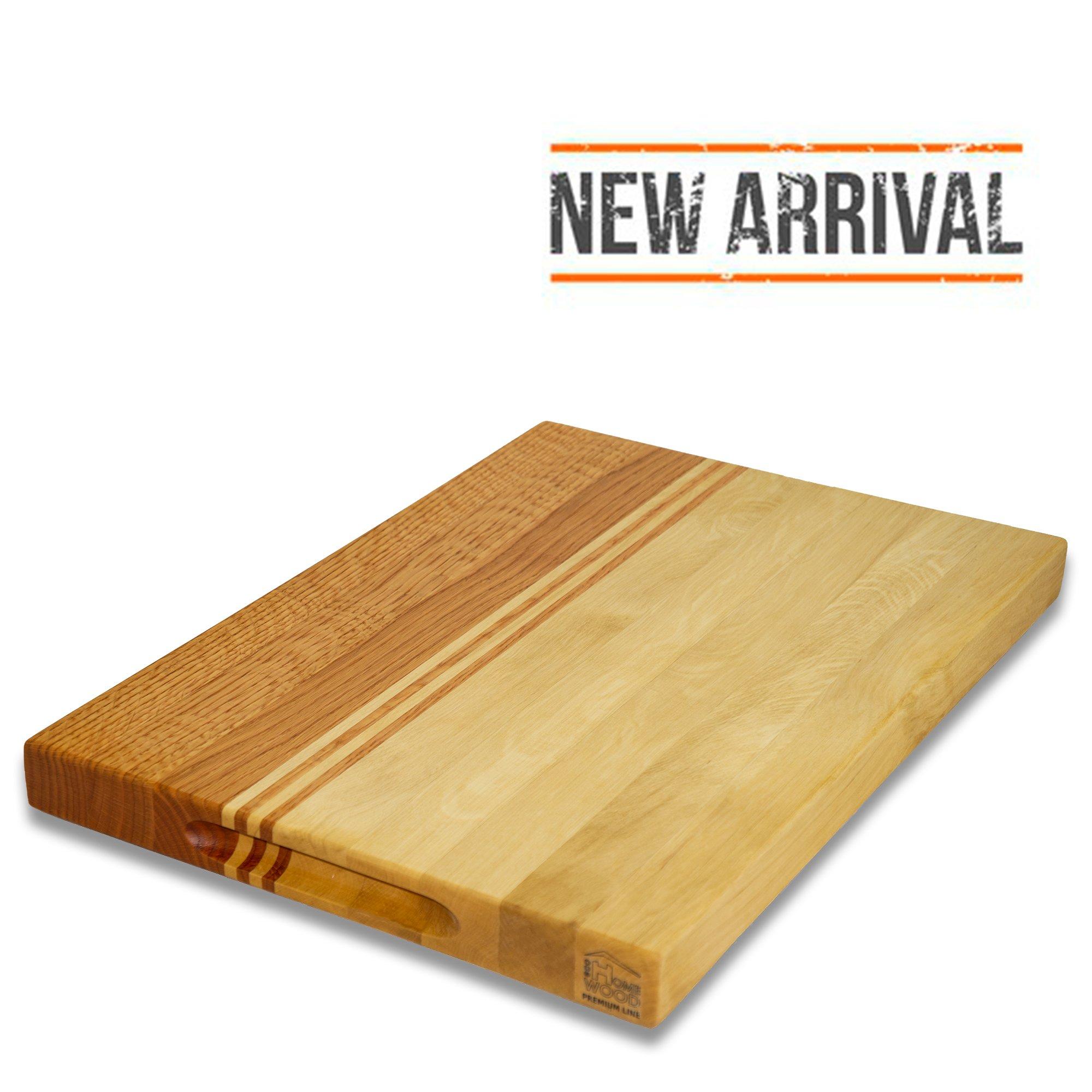 Heavy duty wood cutting board-Wooden chopping board| Wood cutting boards with feet - Wood butcher block Cutting board Edge grain cutting board for kitchen Wooden chopping block Antibacterial Non slip