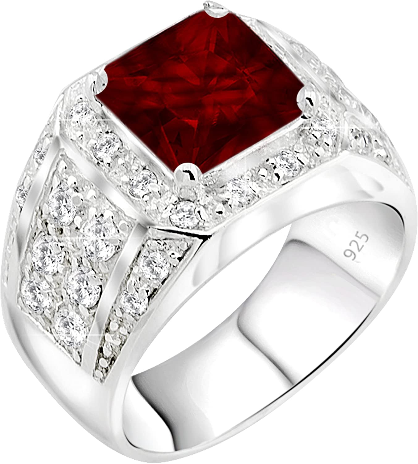 [2-5 Days Delivery] Men's Sterling Silver .925 Princess-Cut Ring Featuring a Synthetic Red Ruby Surrounded by 32 Fancy Round Prong-Set Cubic Zirconia Stones, Perfect for the Holidays