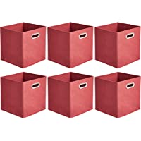 Amazon Basics Collapsible Fabric Storage Cubes with Oval Grommets - 6-Pack, Red