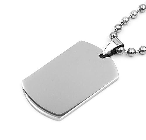 Amazon.com: Acero inoxidable plata Plain Militar Ejército ...