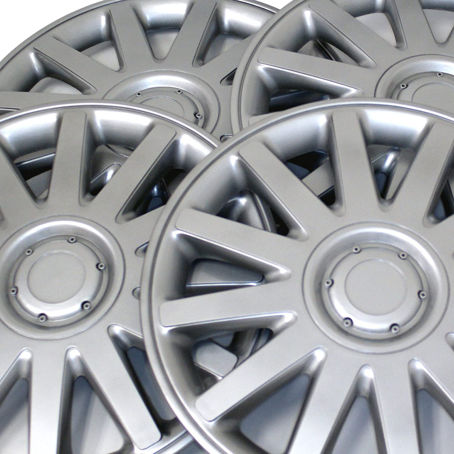 Type Metallic Silver Wheel Covers Hub-caps Pack of 4 Hubcaps 17-Inches Style 610 Snap-On Pop-On Tuningpros WC3-17-610-S