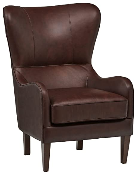Stupendous Stone Beam Mid Century Modern Leather Wingback Chair 36W Chestnut Short Links Chair Design For Home Short Linksinfo