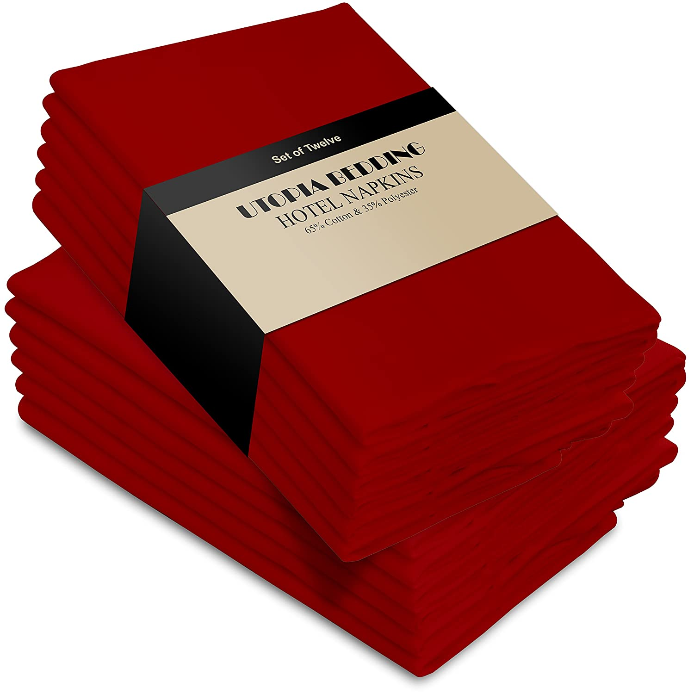 Large Red Poly-Cotton Dinner Napkins Set of 12 | ChristmasTablescapeDecor.com