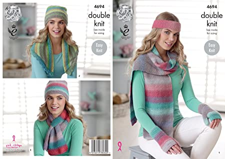 King Cole 5022 Knitting Pattern Womens Easy Knit Scarves in King Cole Sprite DK