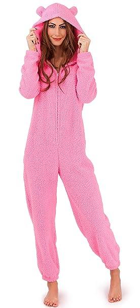 Onezee - Mono de una pieza para mujer con capucha, supersuave y calentito, osito de peluche / conejito, color rosa o crema: Amazon.es: Ropa y accesorios