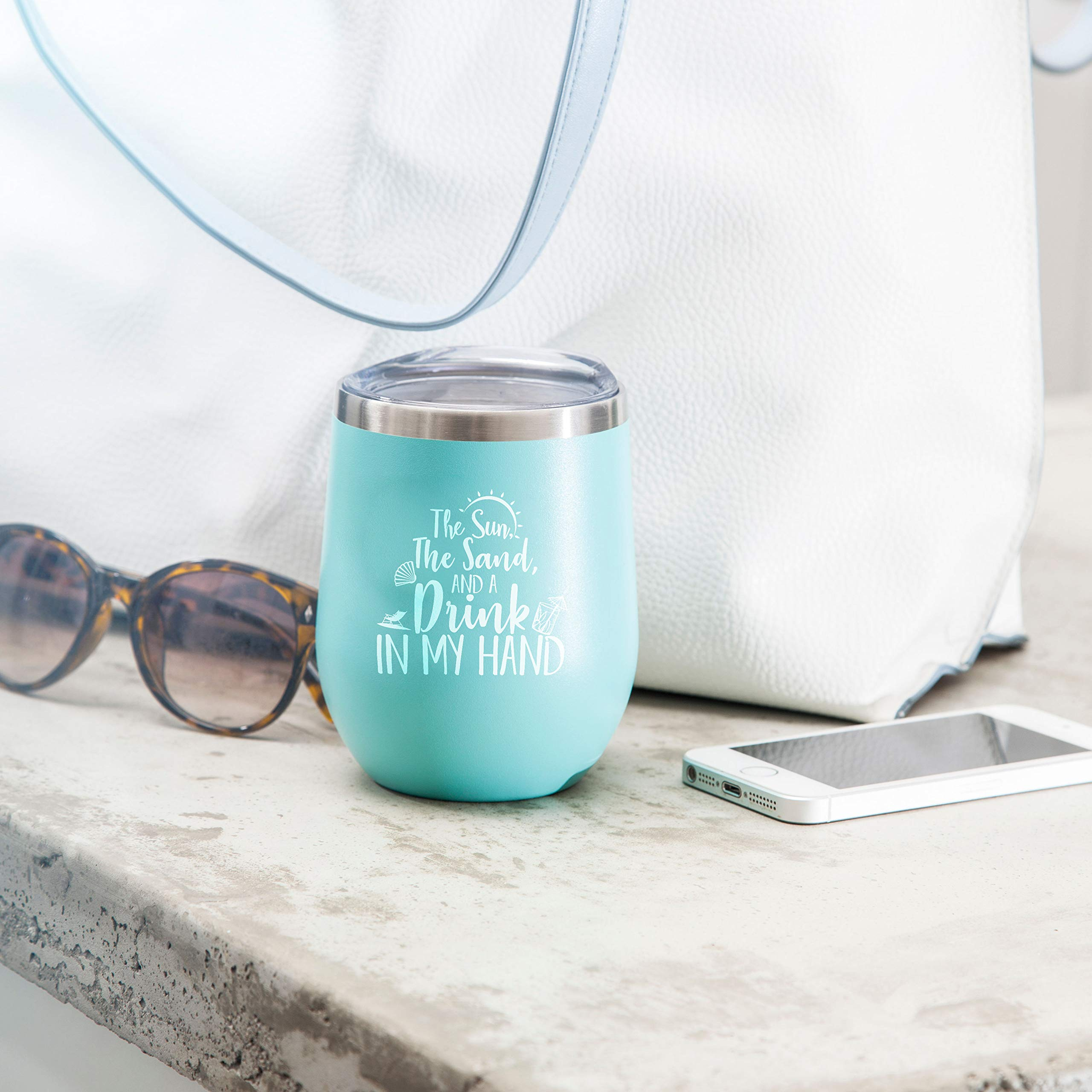 The Sun The Sand and A Drink In My Hand - Perfect Insulated Travel Cup for The Beach, Lake or Pool - 12 oz Stainless Steel Wine Glass Tumbler with Lid by Gelid (Image #7)
