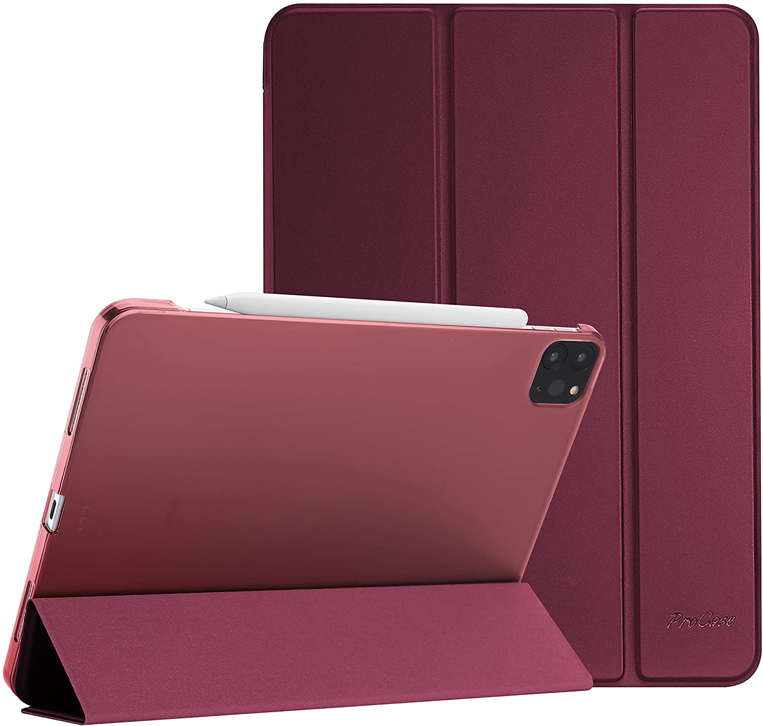 "ProCase iPad Pro 12.9 Case 4th Generation 2020 & 2018, [Support Apple Pencil 2 Charging] Slim Stand Hard Back Shell Smart Cover for iPad Pro 12.9"" 4th Gen 2020 / iPad Pro 12.9"" 3rd Gen 2018 –Wine"
