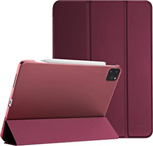 """ProCase iPad Pro 12.9 Case 4th Generation 2020 & 2018, [Support Apple Pencil 2 Charging] Slim Stand Hard Back Shell Smart Cover for iPad Pro 12.9"""" 4th Gen 2020 / iPad Pro 12.9"""" 3rd Gen 2018 –Wine"""