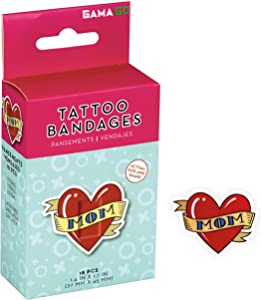 GAMAGO Mom Tattoo Bandages for Kids & Kidults - Set of 18 Individually Wrapped Self Adhesive Bandages - Sterile, Latex-Free, Antibacterial, Easily Removable - Funny Gift & First Aid Addition