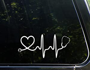 "Sweet Tea Decals Stethoscope Big Heart - 8"" x 3 3/4"" - Vinyl Die Cut Decal/Bumper Sticker for Windows, Trucks, Cars, Laptops, Macbooks, Etc."