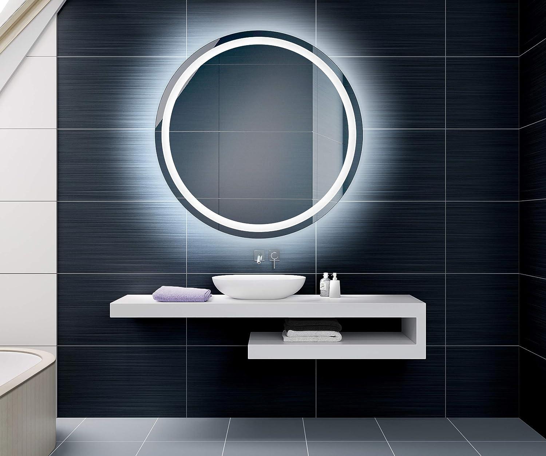 su Misura con Interruttore e Accessori Artforma 40 cm Specchio Tondo da Parete Bagno con Illuminazione LED L33 Classe di efficienza energetica A++ Personalizza Specchio a Muro