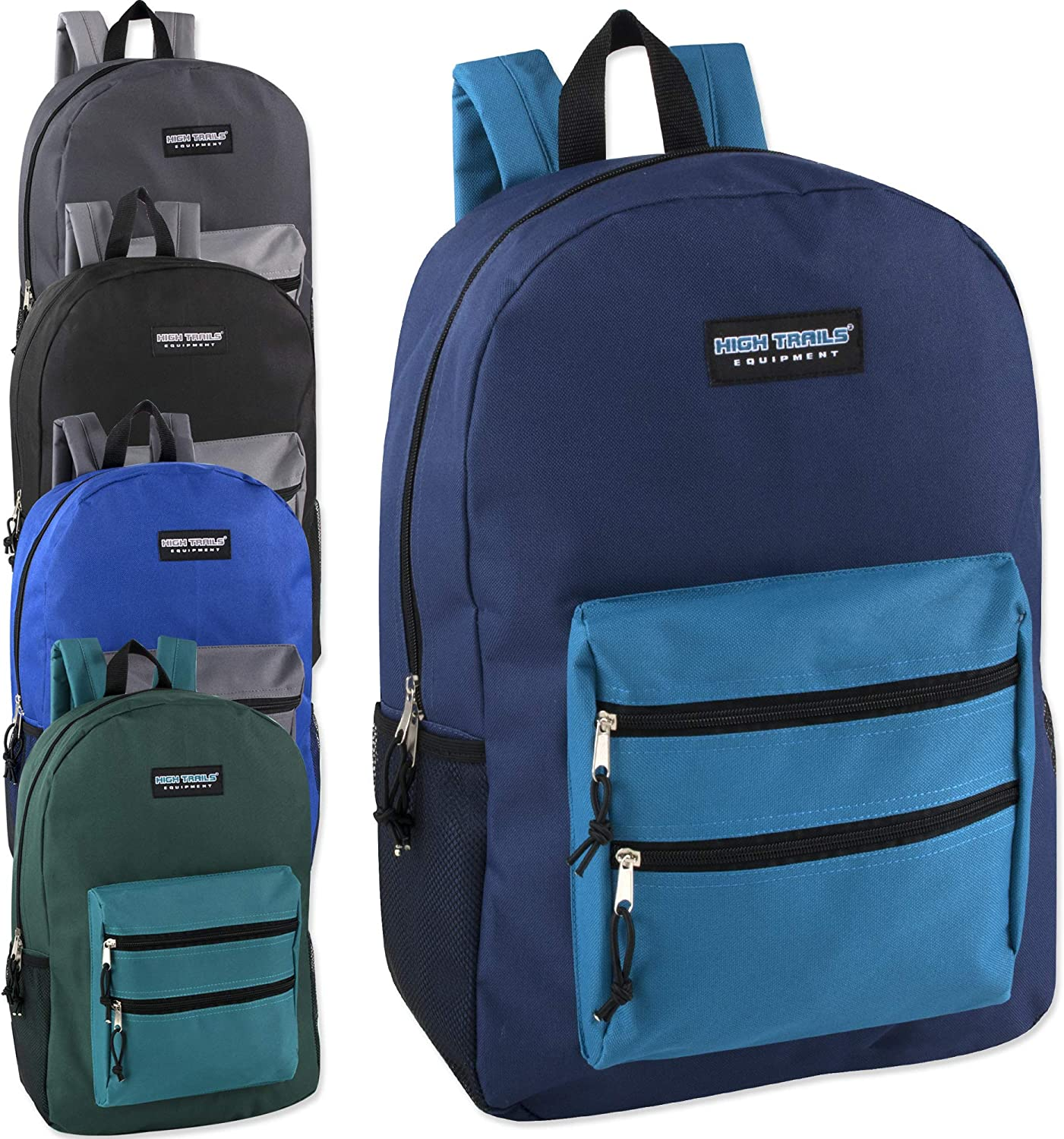 Wholesale High Trails 19 Inch Double Zip Backpacks With Two Side Mesh Pockets in Bulk Case of 24