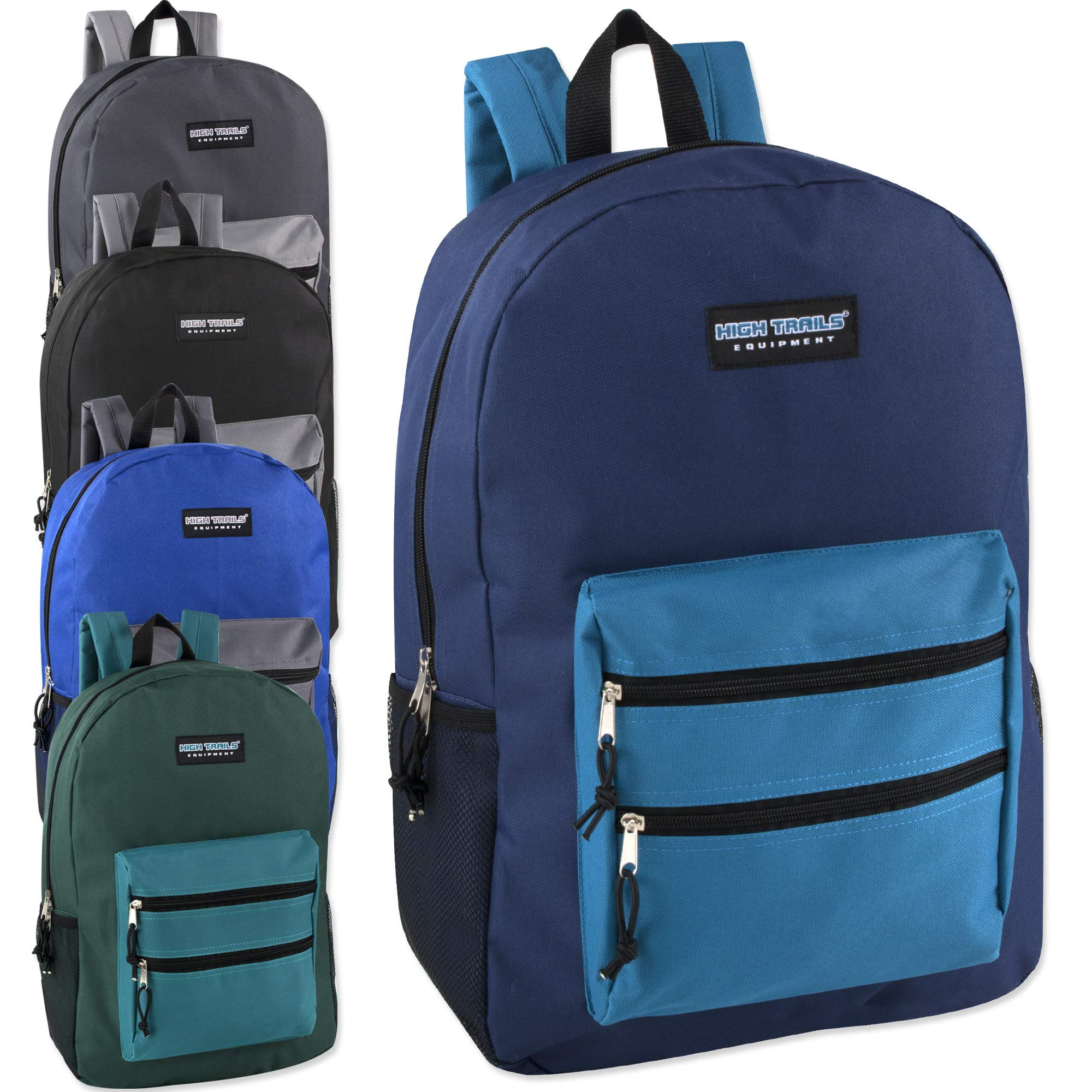 Wholesale High Trails 19 Inch Double Zip Backpack With Two Side Mesh Pockets (Boys 5 Pack Assorted) by High Trails