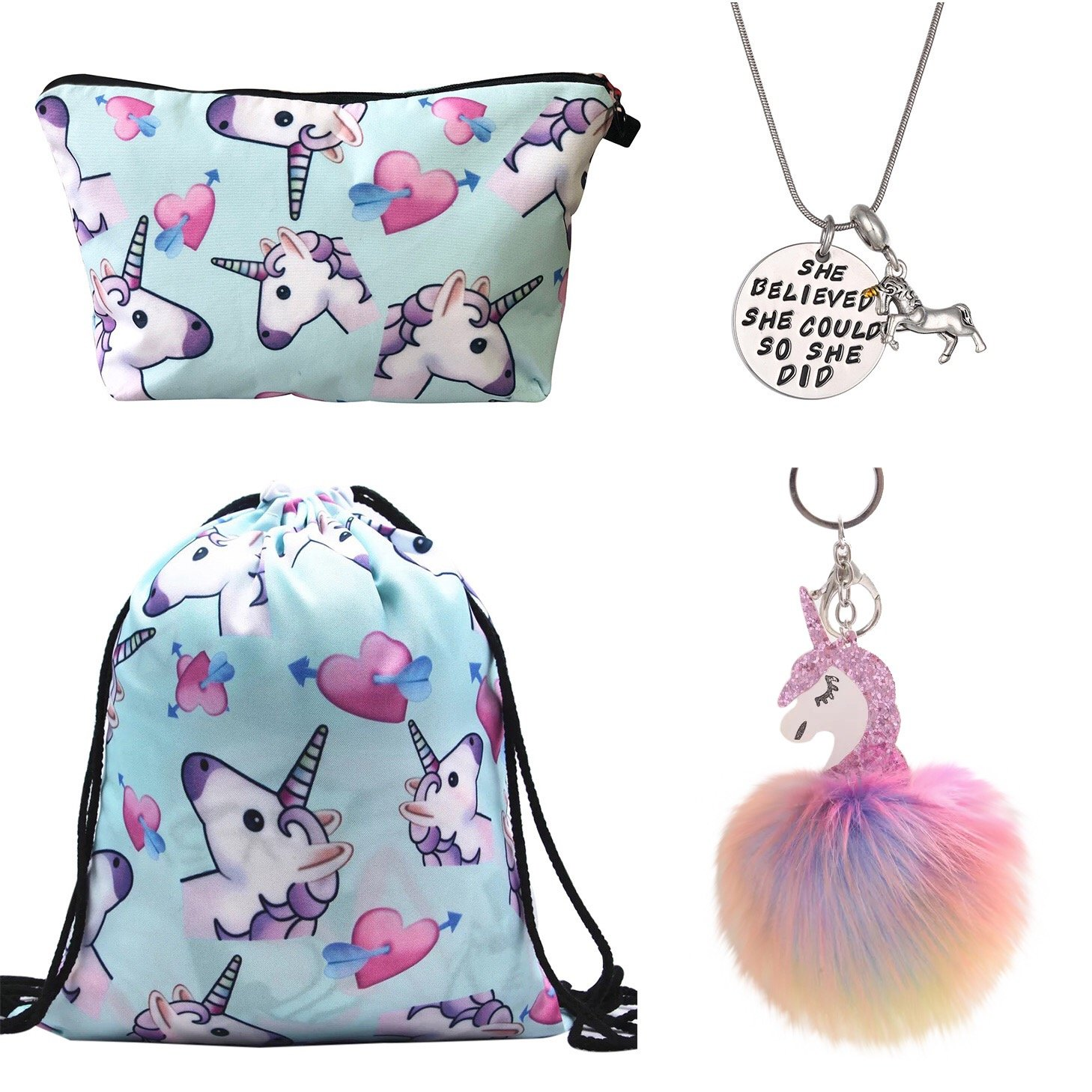 Unicorn Gifts for Girls 4 Pack - Unicorn Drawstring Backpack/Makeup Bag/Necklace/Fluffy Keyring (Blue)