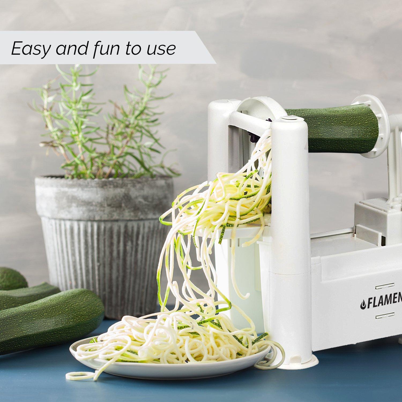 Amazon.com: Flamen Tri-Blades Fruits and Vegetable Spiralizer Cutter ...