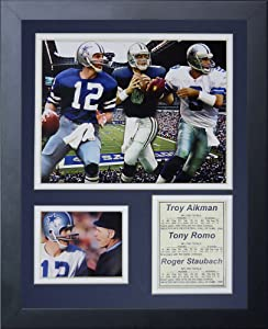 """Dallas Cowboys - Quarterbacks Collage 11"""" x 14"""" Framed Photo Collage by Legends Never Die, Inc."""