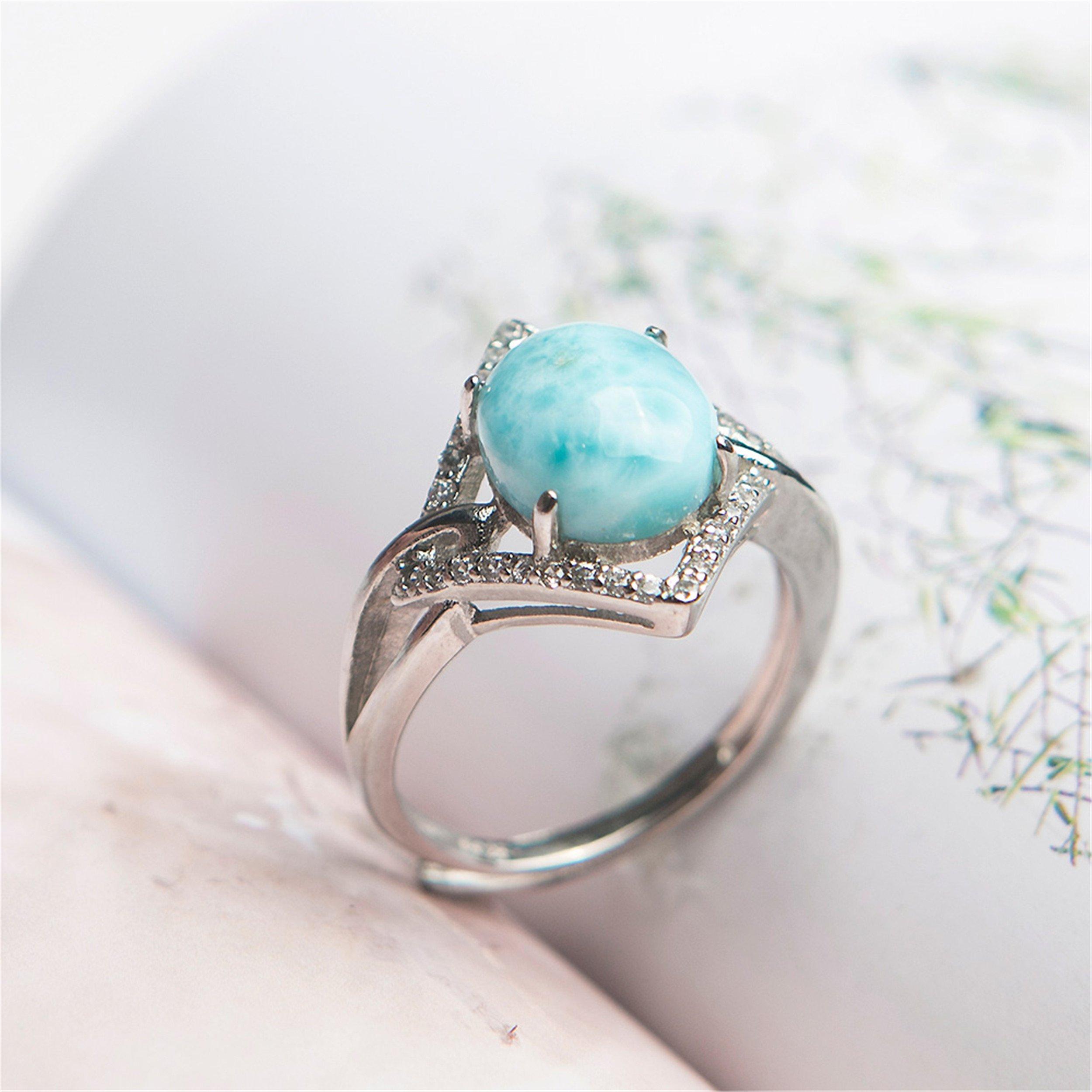 LiZiFang Natural Blue Larimar Gemstone Fashion Silver Party Wedding Woman Rings by LiZiFang (Image #2)