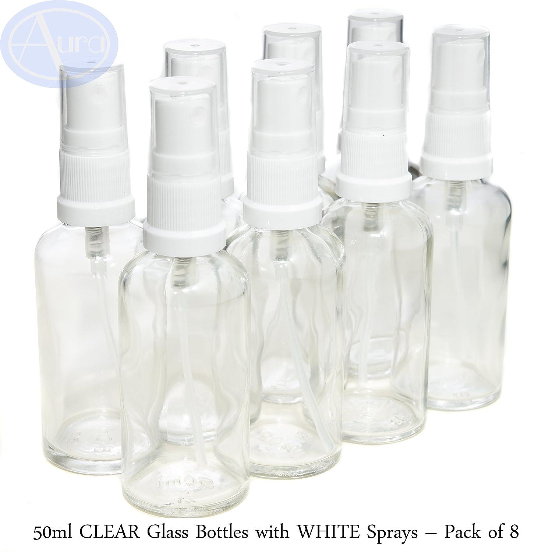 Bottiglie 50ml in vetro transparente con diffusore spray bianco - Confezione da 8 Aura Essential Oils