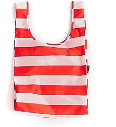 BAGGU Standard Reusable Shopping Bag, Eco-friendly Ripstop Nylon Foldable Grocery Tote, Red Stripe