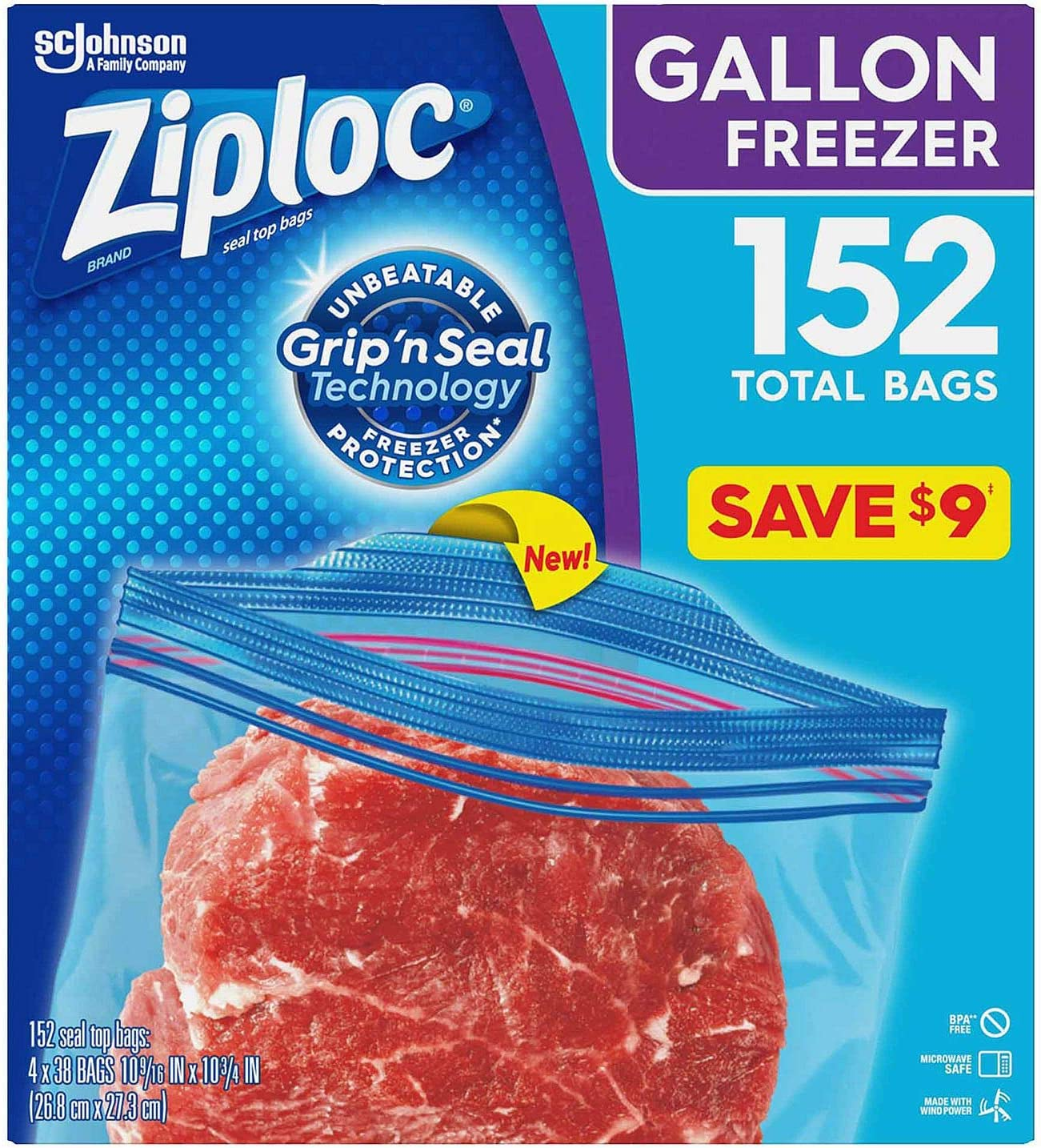 Ziploc Easy Open Tabs Freezer Gallon Bags (152 ct.) - 1 Pack