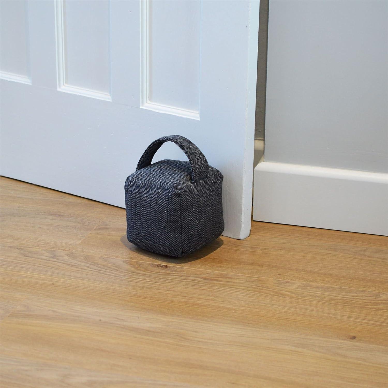 Nicola Spring Home Interior Doorstop Grey Herringbone Patterned Door Stop with Handle