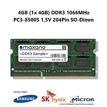 Maxano DDR3 1066MHz SO Dimm - Tarjeta gráfica 4 GB: Amazon ...