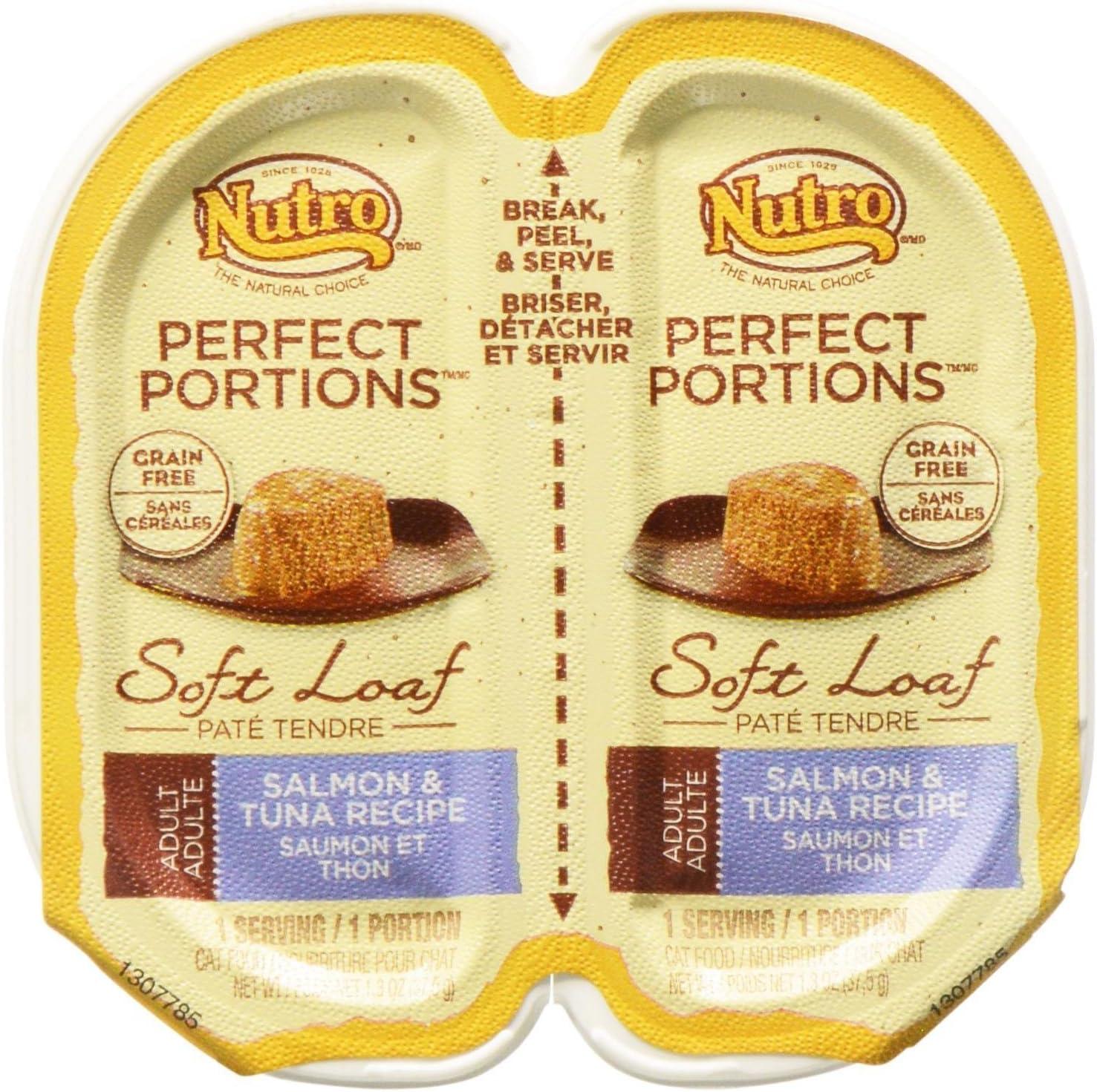 Nutro 50411520 24Ea/2.65Oz Grain Free Perfect Portions Soft Loaf Salmon & Tuna Recipe Cat Food, One Size