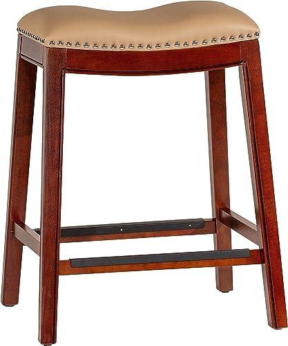 DTY Indoor Living Durango Bonded Leather Saddle Stool, 24 Counter Stool, Cherry Finish, Bone Leather Seat