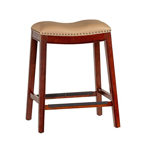 DTY Indoor Living Durango Bonded Leather Saddle Stool, 24 Counter Stool, Cherry Finish, Bone Leather Seat