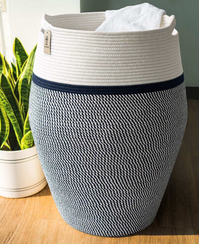 "Goodpick Laundry Hamper | Large Wicker Hamper Dark Blue Woven Basket Neutral Clothes Hamper for Living Room Decorative Modern Curve Storage Bucket 25.6"" Height"