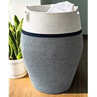 Goodpick Laundry Hamper | Large Wicker Hamper Dark Blue Woven Basket Neutral Clothes Hamper for Living Room Decorative…