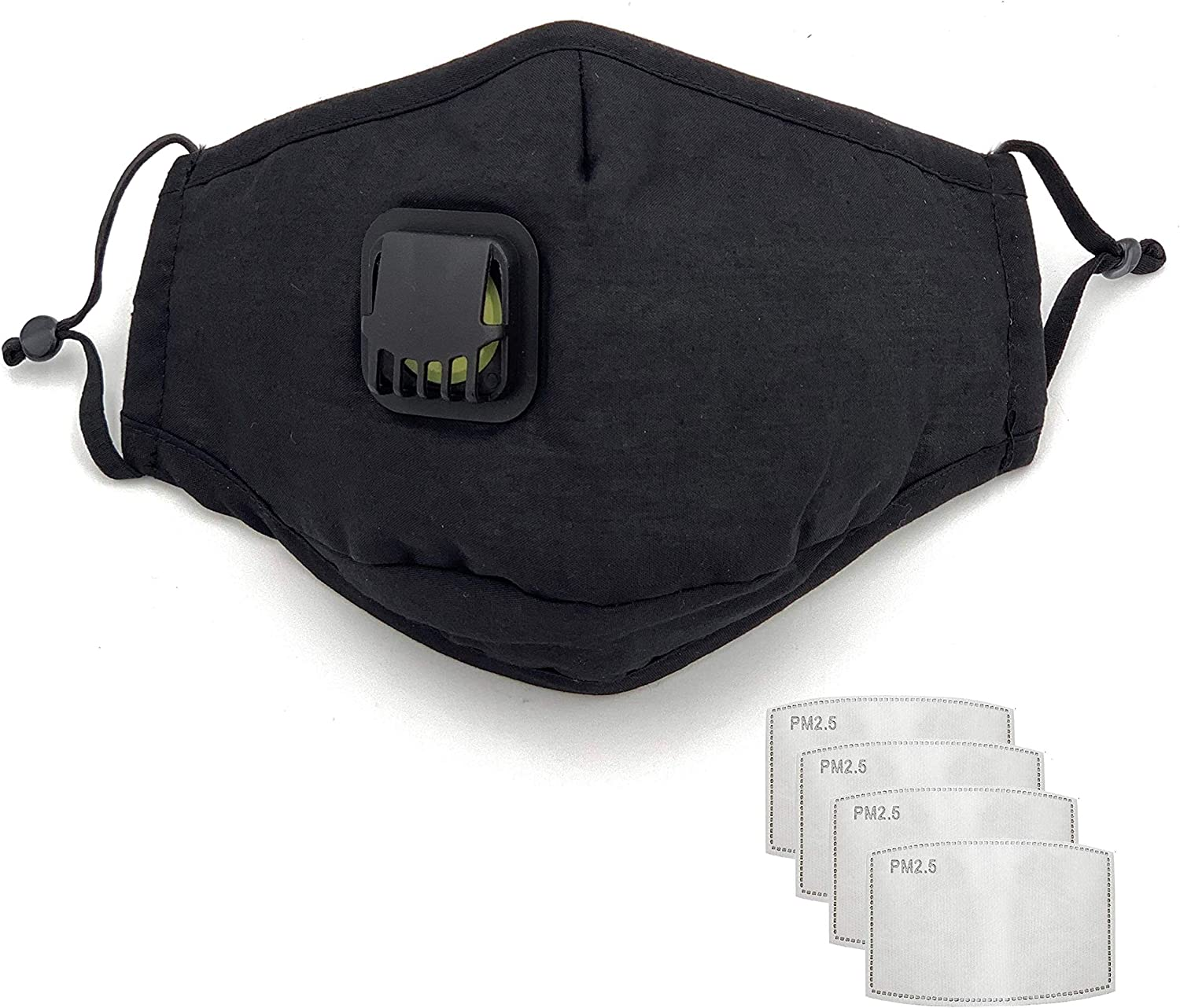 TK FASHION MASK Black Cotton Reusable Washable Face Mask with Breathing Valve & Filter Pocket (Included 4 FREE Filters)