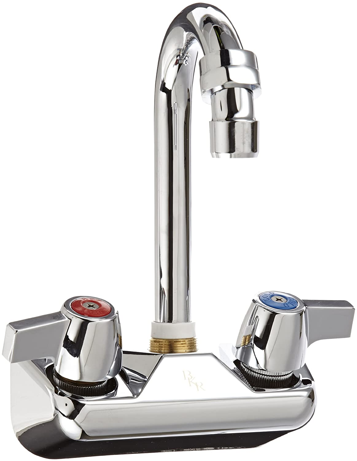 John Boos PBF-4-S Economy Gooseneck Faucet, Splash Mount, 3-1 2 Spout, 4 On Center