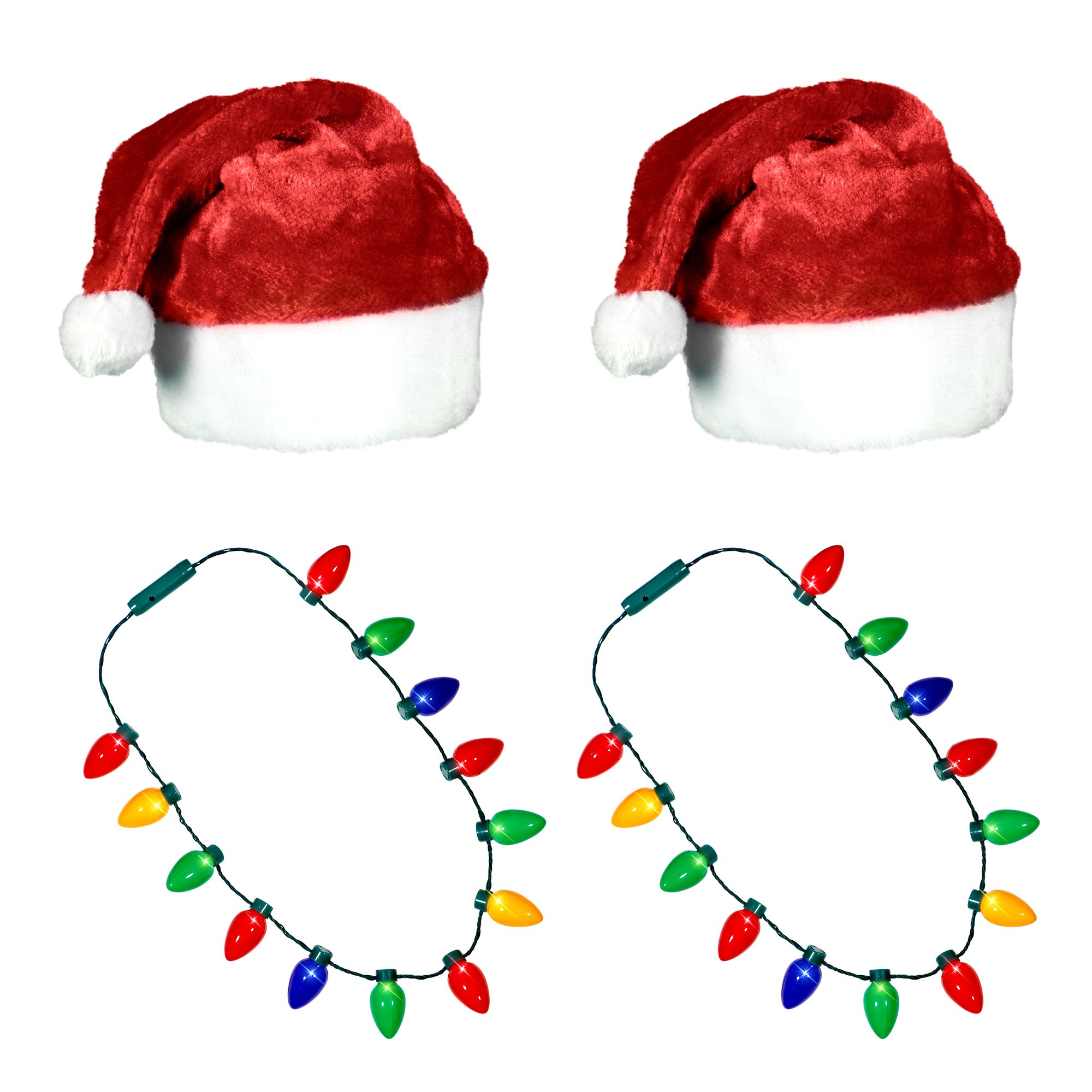 Ugly Sweater Christmas Party Kit - (2) Pack Plush Santa Hats + (2) Pack LED Christmas Necklace (Red Santa Hat + Necklace)