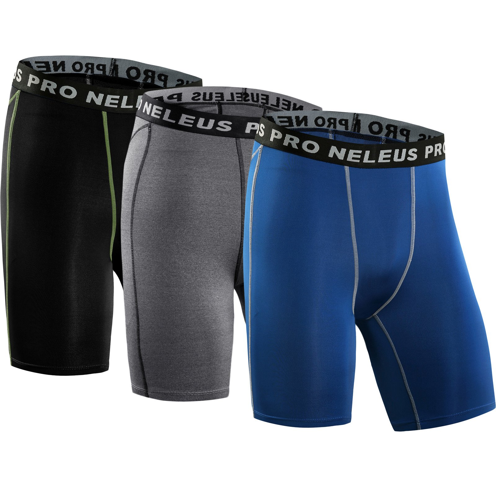 Neleus Men's 3 Pack Compression Short,047,Black,Grey,Blue,US XS,EU S