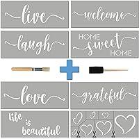 Stencils For Painting on Wood 16 pcs Essential Inspirational Stenciling Kit Rustic Farmhouse DIY Home Decor Word Paint Stencils: WELCOME LOVE GRATEFUL etc+ Mandala Hearts Cursive Script Sayings