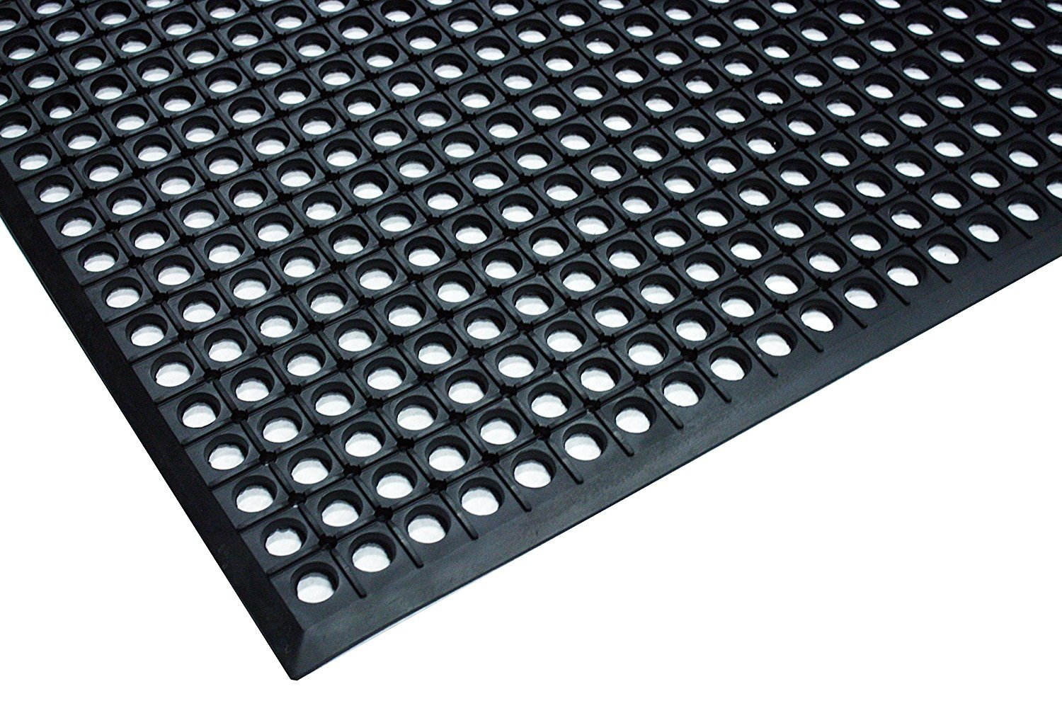 Durable Workstation Light Rubber Anti-Fatigue Drainage Mat for Wet Areas, 3' x 5', Black by Durable Corporation