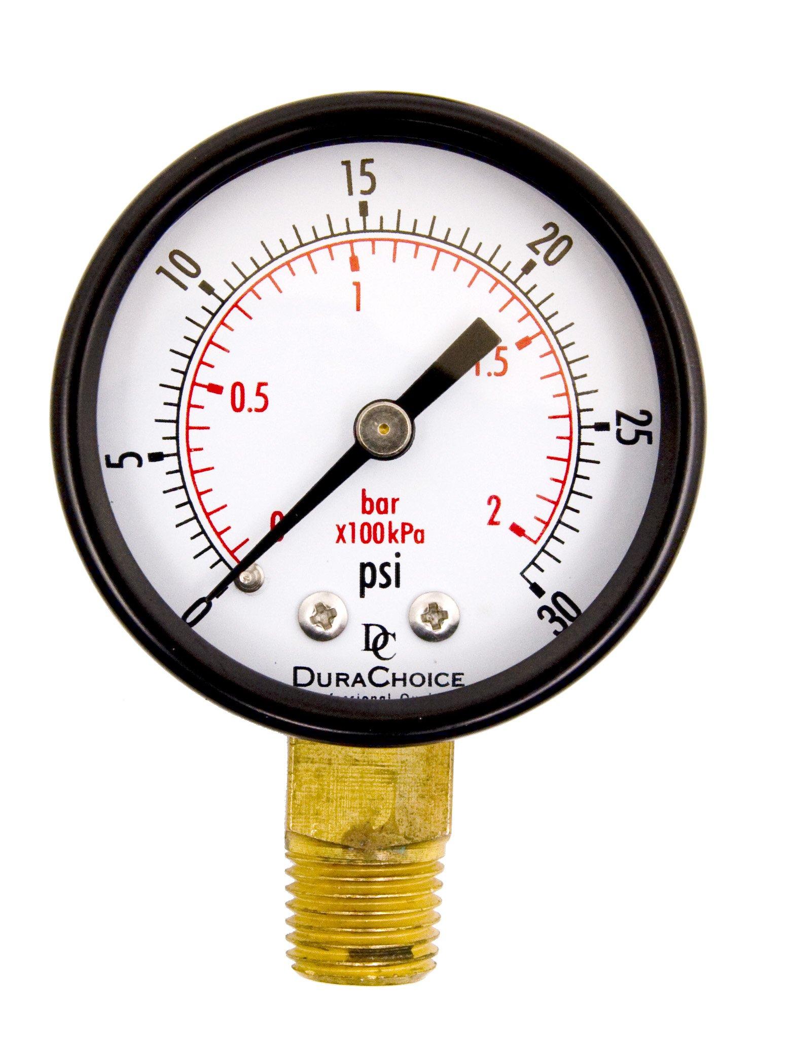 2'' Pool Spa Filter Utility Pressure Gauge for Water, Oil, Gas, 1/4'' NPT Lower Mount, Black Steel Case, 0-30PSI