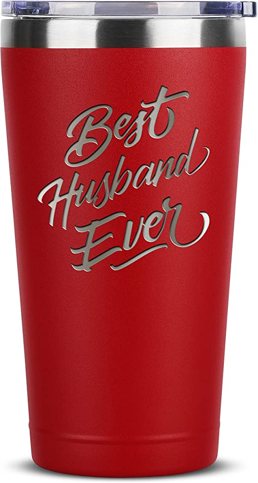Amazon Com Best Husband Ever 16 Oz Red Insulated Stainless Steel Tumbler W Lid Mug Birthday Valentines Fathers Day Christmas Gift Ideas From Wife Funny Present Idea For Groom