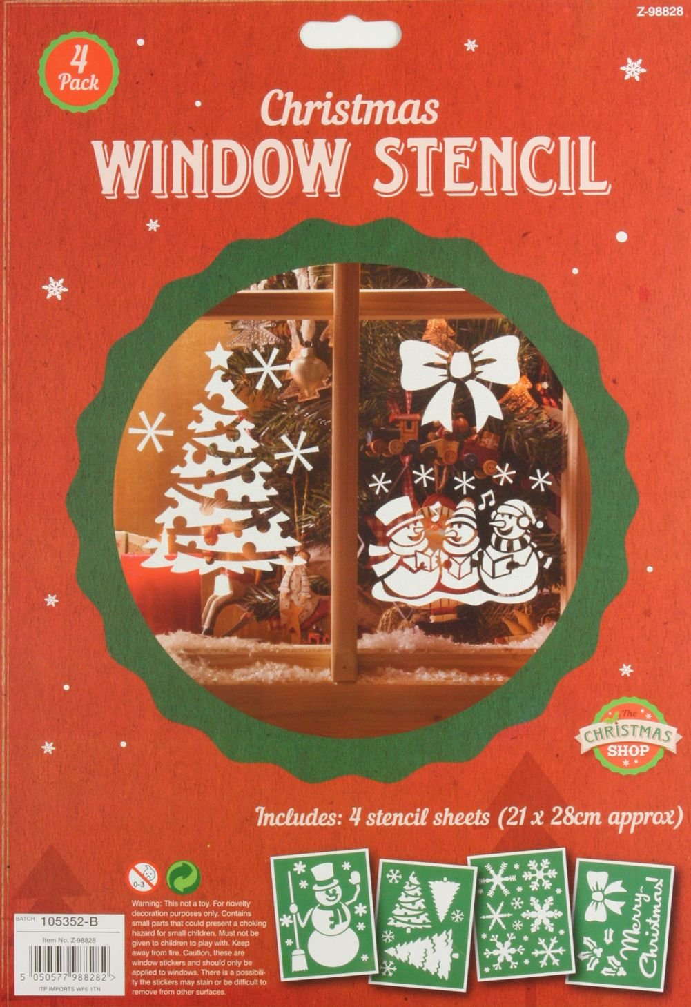 1 x Pack of 4 Plastic Christmas Window Stencils Home Spray Snow Reuseable