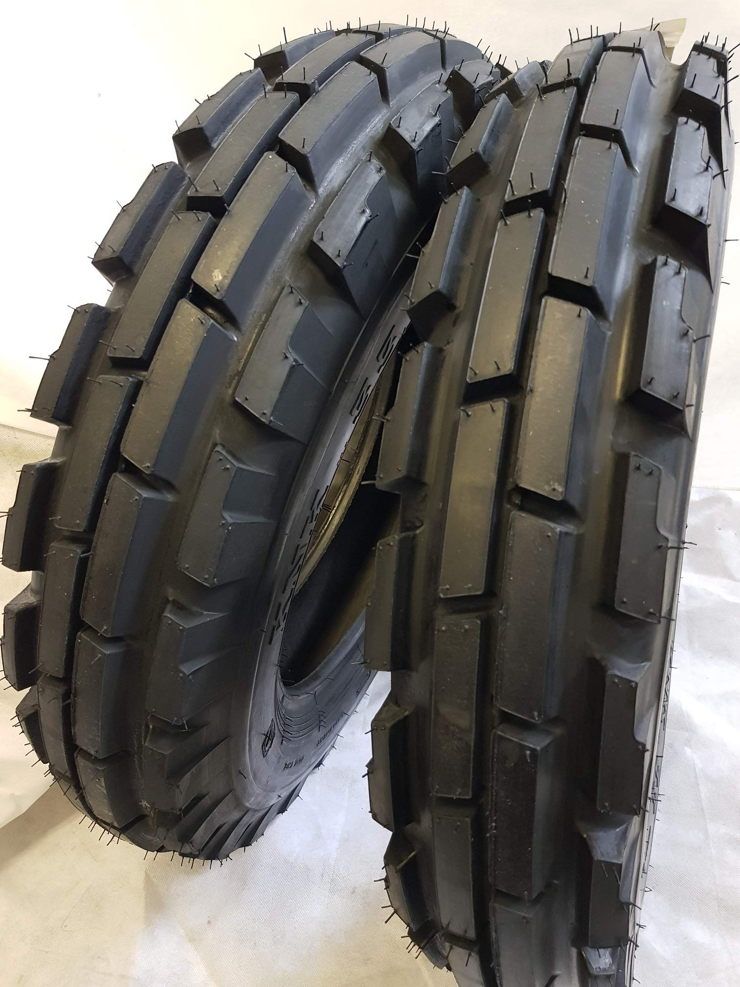 (2 TIRES + 2 TUBES) 6.50-16 8 PLY ROAD WARRIOR KNK33 3-Rib Farm Tractor Tires 6.50x16