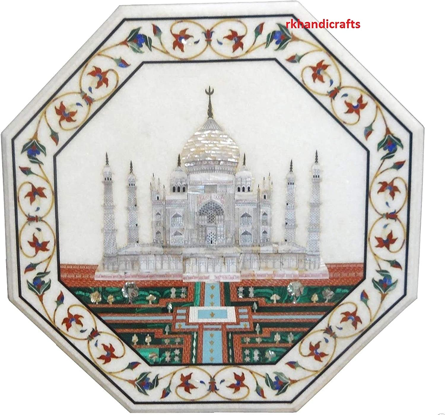 15 Inches Marble Patio Side Table Top Taj Mahal Replica Inlaid Handmade from India 81TwpqH8BeLSL1500_