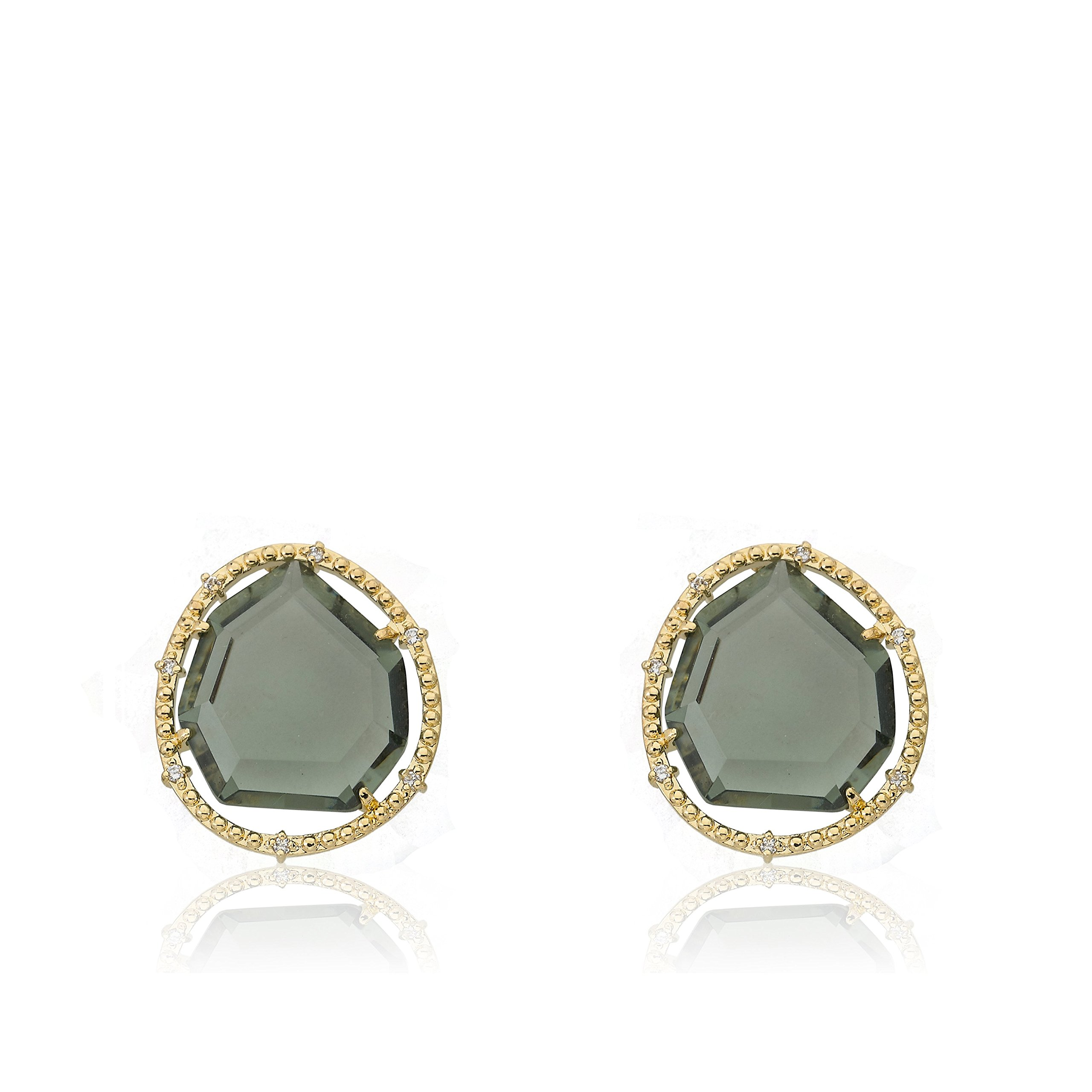 Riccova Sliced Glass 14k Gold-Plated Black Sliced Glass Stud Earring Brass by Riccova