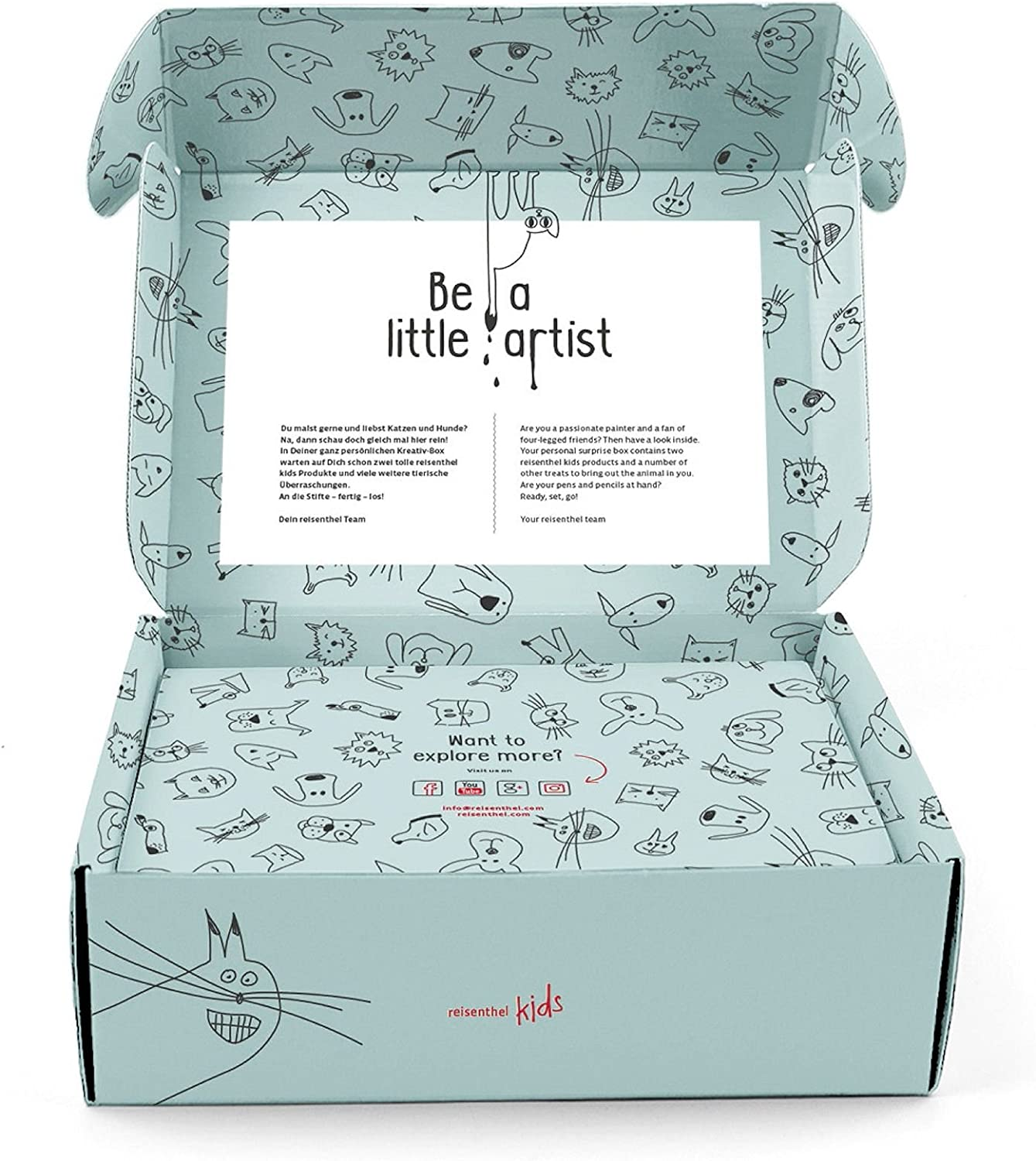 surprise box kids  28 x 9,5 x 23 cm cats and dogs mint