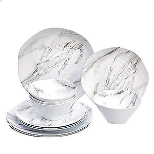 AmazonBasics 12-Piece Melamine Dinnerware Set - Service for 4, White Marble