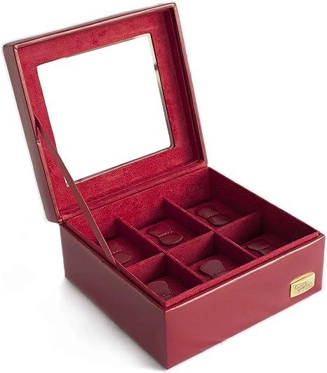 CORDAYS - Estuche Relojero para 6 Relojes con Vitrina de Cristal Hecho a Mano en Color Rojo. CDL-10003: Amazon.es: Relojes