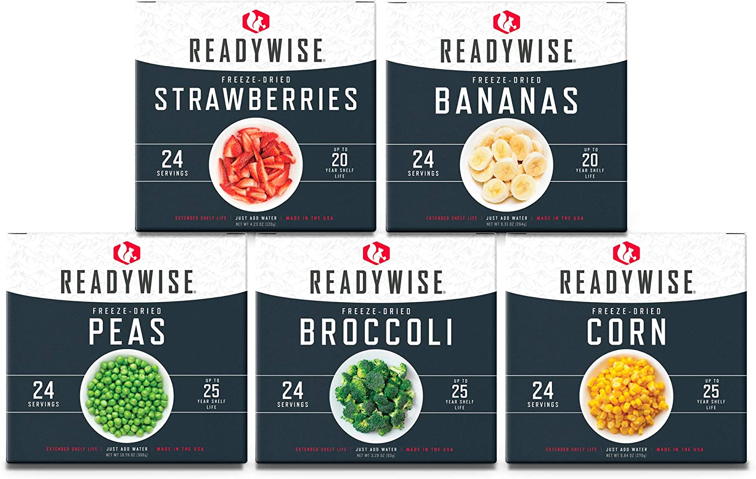 ReadyWise Freeze-Dried Fruit & Vegetable Box Kit| Emergency Food | 120 Servings