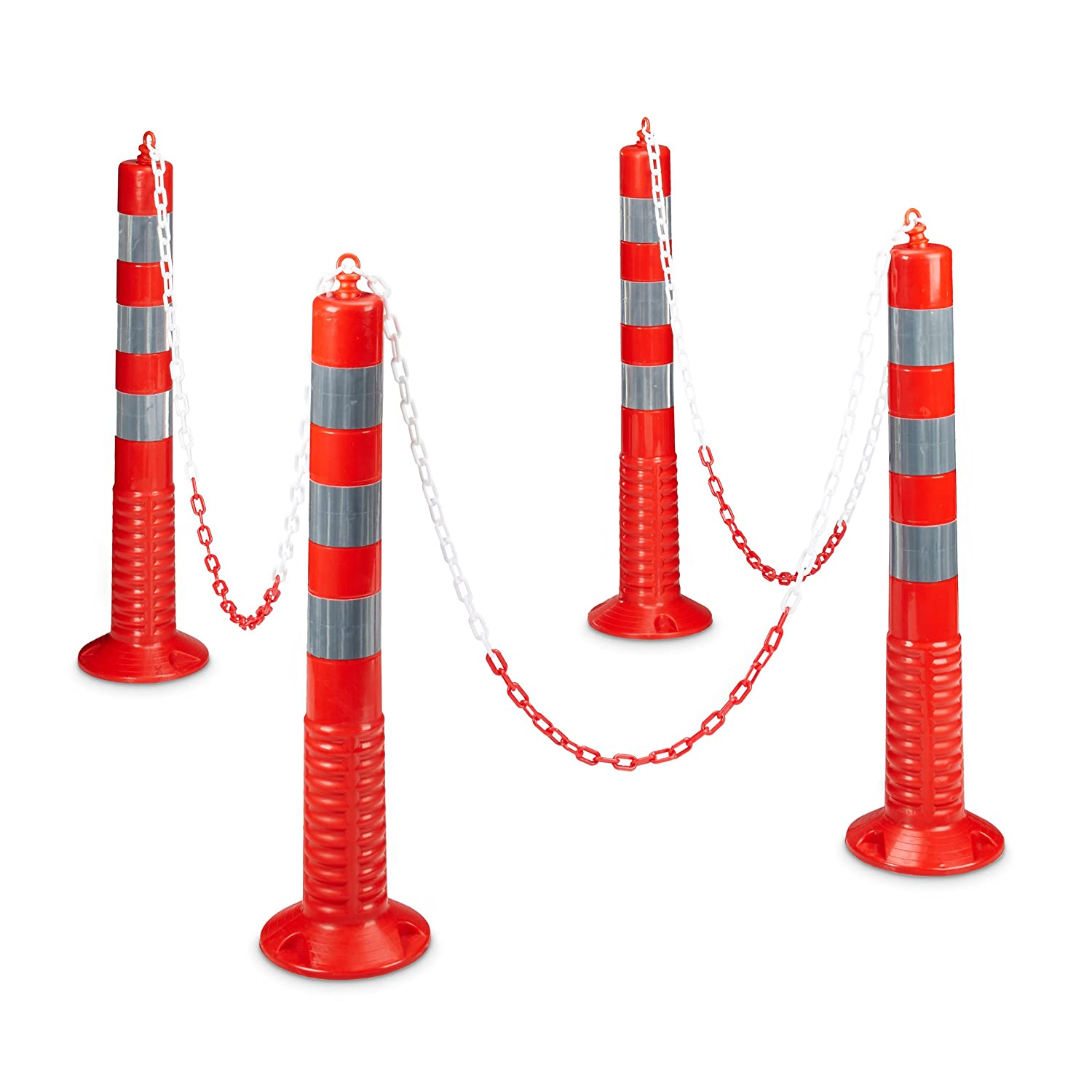 Relaxdays 4 Flexible Parking Posts, Size: 75 x 22 x 22 cm Reflective Chain Posts w/Practical Chain Barriers as Parking Space Savers with Sturdy Base to Secure w/Screws, Red/Gray Relaxdays GmbH 10020485_305