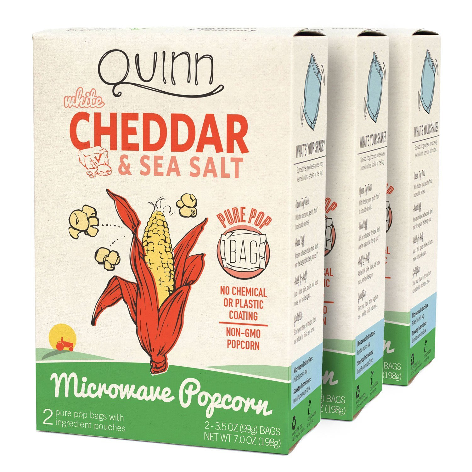 Quinn Snacks Microwave Popcorn - Made with Organic Non-GMO Corn - Great Snack Food for Movie Night - White Cheddar, 7 Ounce (3 Count)