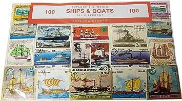 Explora Barcos del Mundo Conjunto De 100 Sellos Coleccionables - Transporte Naval / Todos Diferentes / Recuerdo De Viaje: Amazon.es: Juguetes y juegos